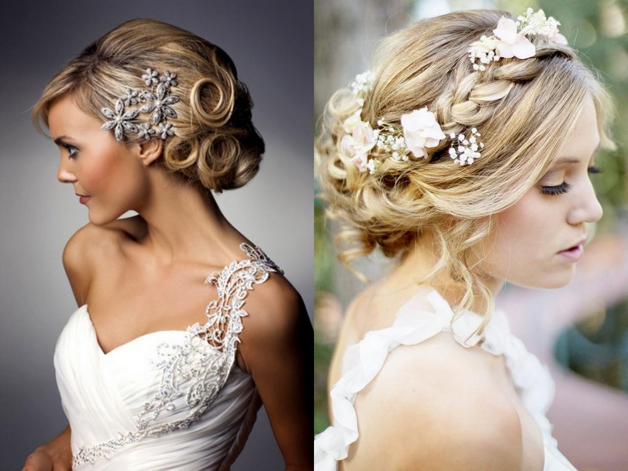 Свадебные причёски для средних волос фото